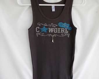 """Rhinestone """"Cowgirl"""" Tank Top, Turquoise And Clear Rhinestones With A Removable Boot Charm. Country Western, Cowgirl, Concert"""