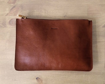 Medium Brown Clutch, Brown leather purse, leather clutch
