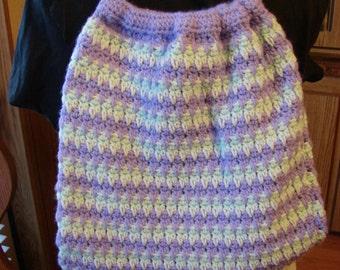 Crochet Lavender & Mint Green Lined Drawstring Bag or Backpack