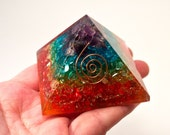 Black Friday Sale! ORGONE 7 CHAKRA PYRAMID Strong Protection and Healing Over 2 Inches On Sale Now! Never so low in price!