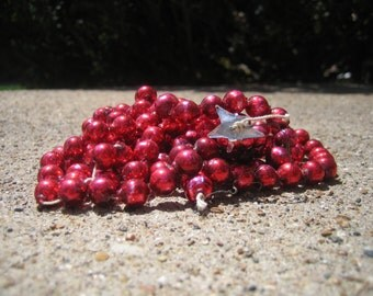 Vintage Christmas Glass Beaded Garland RED
