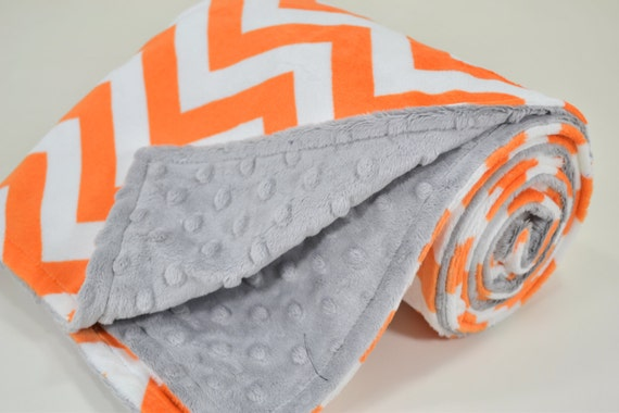 Minky Baby Blanket - Orange Chevron Minky - Silver Minky Dimple Dot - Double Minky Blanket - Baby Size 29x35