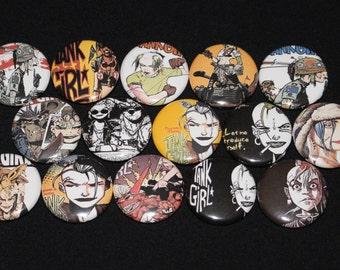 15 Rare TANK GIRL Flatback or Pinback buttons 1 inch badge