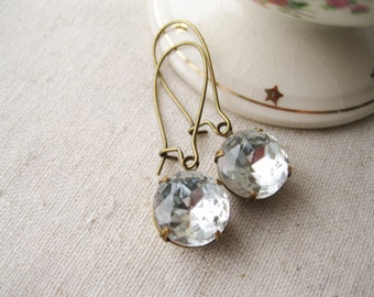 Clear Glass Earrings Rhinestone Drops Vintage Jewels Old Hollywood Glam Antiqued Brass Classic Simple Wedding Earrings Bridal Jewelry