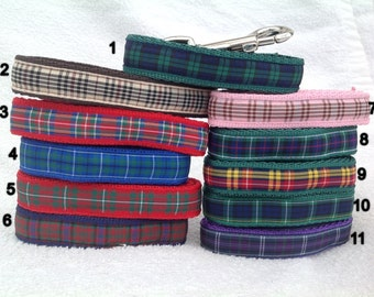 Handmade Scottish Tartan Dog Lead - Various Tartans - 10mm or 12mm Wide - 1.20m long