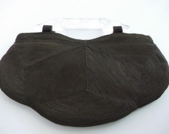 Chocolate Brown Corde Bag with Lucite Handles.