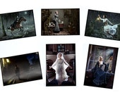 set of 6 photo postcards, historical victorian gothic dark romantic fairytales