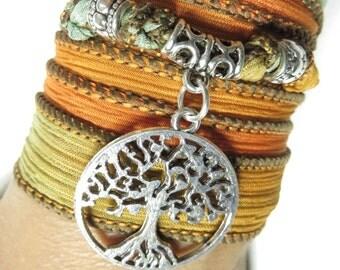 Tree Of Life,Bohemian,Yoga,Wrap Bracelet,Silk Wrap Bracelet,Yoga Jewelry,Yoga Necklace,Spiritual,Bohemian,Yellow Wrap,Wrist Band,Yogi Gift