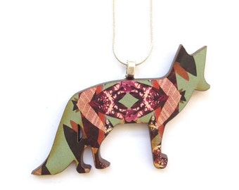 Fox Necklace - Insect Pattern Fox Jewellery Fox Pendant Wooden Necklace