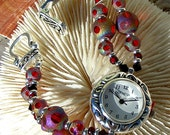 Silver Plated Watch Jewelry w/ Unique Red Beads,Jewelry