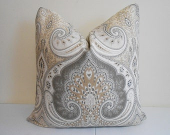 Kravet Ikat Pillow Cover - Light Brown, Tan, Gray Ivory Kravet Ikat -  Latika Ikat Designer Pillow - Sofa Pillow