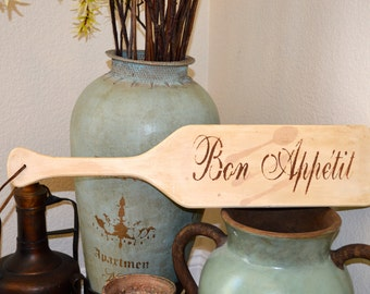 Bon Appetit wooden sign. Hand Painted Decorative wall sign for kitchens and/or restaurants.
