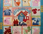 Farm Applique Crib Quilt, Farm Animals Crib, Cow, Pig, Horse, Barn, Tractor, Farm Animals, Appliqued.Pieced, Homemade Gender Neutral Quilt
