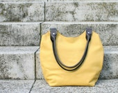 Yellow gray leather bag, handbag, shoulder bag