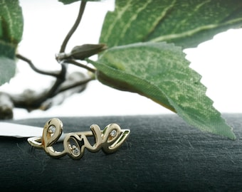 14k Gold Love Ring with  Diamonds