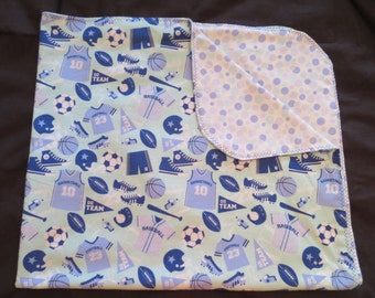 Sports Double Sided Flannel Baby Blanket - Basketball Soccer Football Baseball - Receiving Gift (B4)