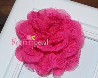 Hot Pink Lace Chiffon Flower Clip