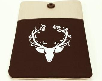 White Deer Laptop Sleeve , 14 in Laptop Case, Padded 15 in Laptop Cover, Antlers, Chromebook laptop sleeve, Asus laptop case brown pocket