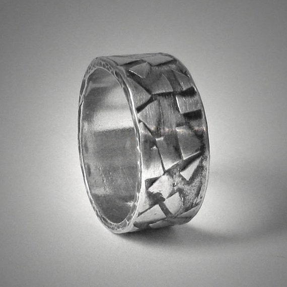 Items Similar To Mens Rustic Textured Wedding Band