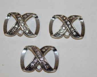 Set of 3 Scarf slides Silver with Rhinestones