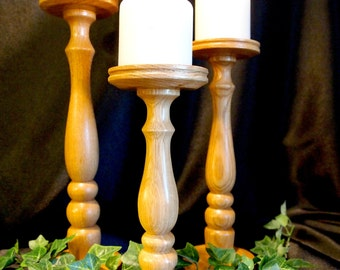 "Light Solid Oak Lathe-turned Pillar Candle Holder Trio, 10"", 12"" and 14"" - MADE IN USA"
