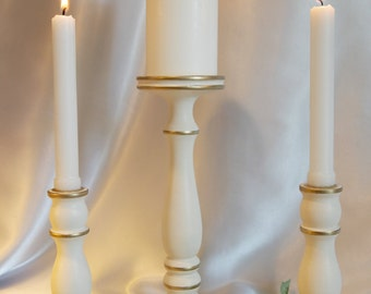 "Wedding Unity Lathe-turned Candle Holder Set, Gold Accented ""Ivory Innovation""  - MADE IN USA"