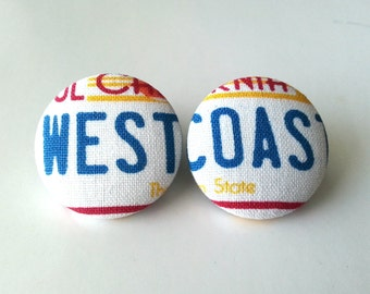 NEW West coast fabric button earrings