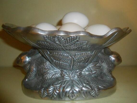 Vintage Metal Bunny Rabbit Dish Bowl Tray By Rememberingdiane