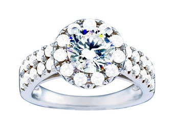 Certified diamond engagement ring 1.38 ctw 14 k white gold hand made