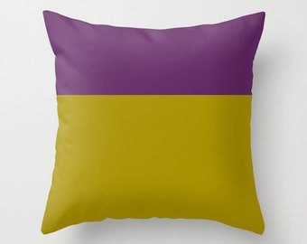 Mustard Pillow Cover Purple Pillow Cover Fall Colorblock Pillow Cover Colorblocking Pillow Cover 18x18 Pillow Cover Two tone Pillow Cover