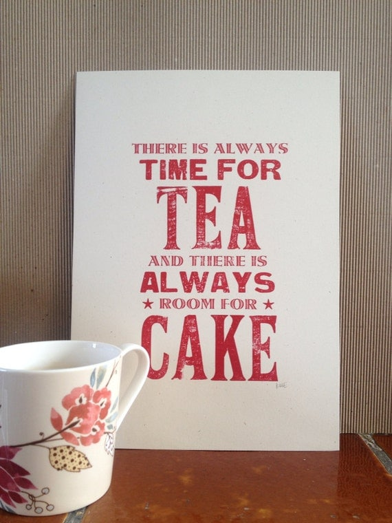 Time For Tea Room For Cake Kitchen Art Wall Decor