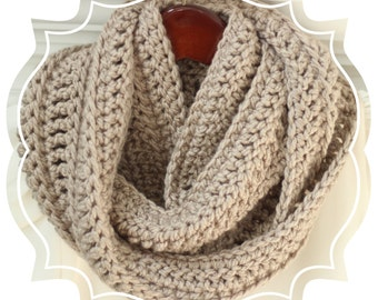 Infinity Scarf - SALE, LIMITED - Taupe Infinity Scarf, Soft, Bulky Scarf, Crocheted, Tan, Taupe Scarf, Crochet Infinity Scarf, Women's