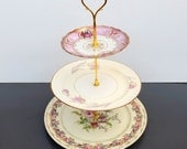Vintage China 3 Tiered Cupcake Wedding Cake Stand Display Centerpiece.Purple Pink Lavender Bridal Baby Shower, Cocktail Party