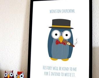 Winston Churchowl A4 Print (Winston Churchill)