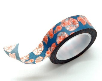 Washi Tape Paper Masking Tape - Navy Blue Red Peony Flower