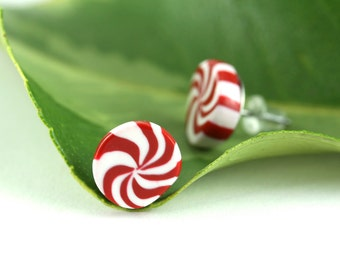 Peppermint Earrings, Christmas Earrings, Peppermint Candy Earring, Holiday Jewelry, Whimsical Christmas Jewelry, Quirky Fun Stocking Stuffer