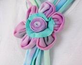 Adjustable Pretty Tye Dye Scarf with Kanzashi Flower #2 on SALE