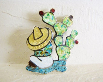 Western Brooch Southwest Jewelry Enamel & Sterling Silver Brooch Taxco Figural Pin Jeronimo Fuentes Brooch Lapel Pin Scarf Pin Gifts For Her