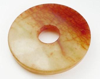 Blood Jade Round Pendant Bead - 48x5mm