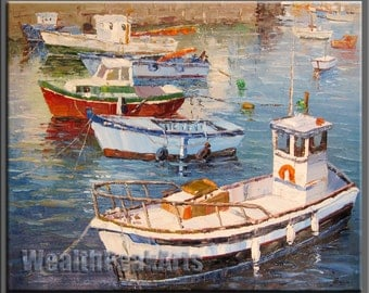 original oil painting,impasto  oil on canvas,hand painted,framed,huge 36''x30''  palette knife  boats oil painting