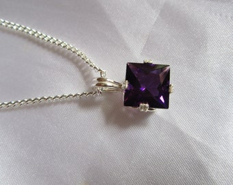 Natural 10mm Square African Amethyst Pendant