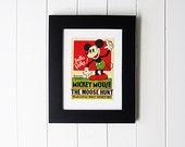 Framed Vintage Mickey Mouse Moose Hunt Movie Poster Postcard