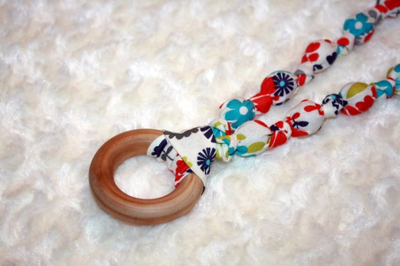 nursing necklace with fabric summer colors