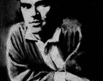 Original A4 chalk drawing of Morrissey.