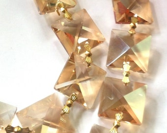 12pc Light Honey Chandelier Crystals 22mm Square Prism Chain