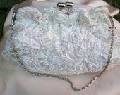 Wedding Bride Vintage Lace Ivory Clutchbag Handsewn Handbeaded Layered Lace Appliques, Crystals, Pearls. Silver Glass Beads