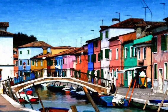 Painting Print - Burano Canal 2 - Italy