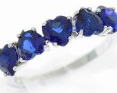 3 Carat Blue Sapphire Heart Ring .925 Sterling Silver Rhodium Finish
