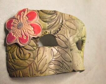 sage green mask, ooak, handmade, Costume mask, Mardi Gras Mask, one of a kind, Masquerade ball,