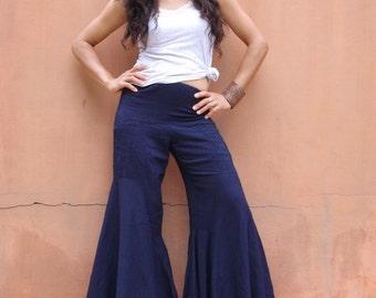 Bell Bottom Pants ... Wide Leg Pants ...Flared Pants...Color Navy Blue